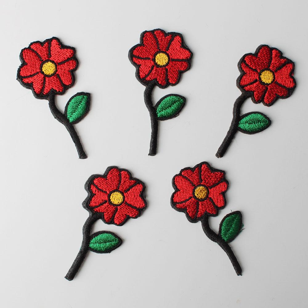 패션포인트 미니 자수 와펜 28 x 55 mm, 한송이꽃, 5개입