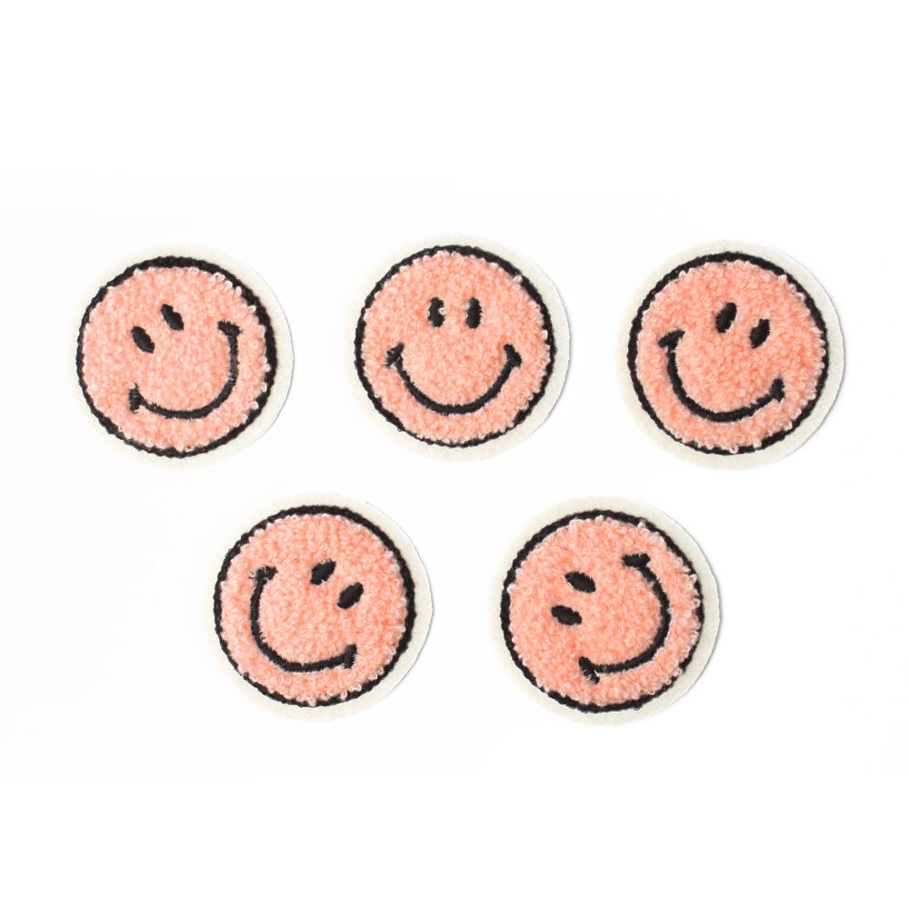 패션포인트 미니 자수 와펜 보슬이 스마일 53 x 53 mm, 핑크, 5개입