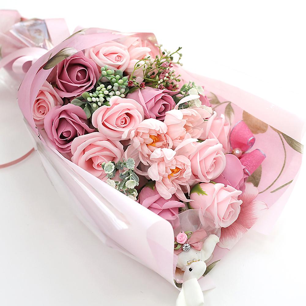 행복한마을 비누꽃 프리마베라 꽃다발, 혼합 색상