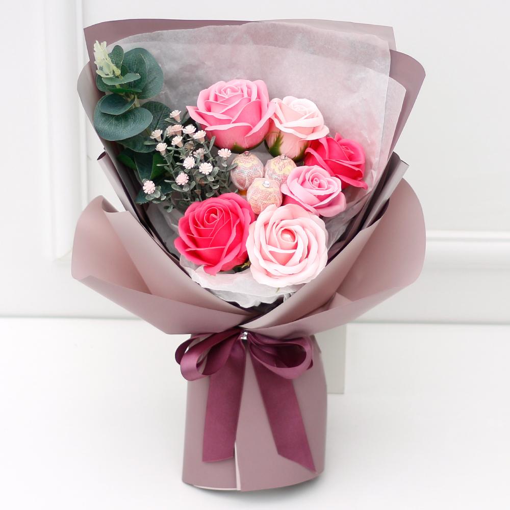 아침향기 조화 블라썸 꽃다발, 핑크