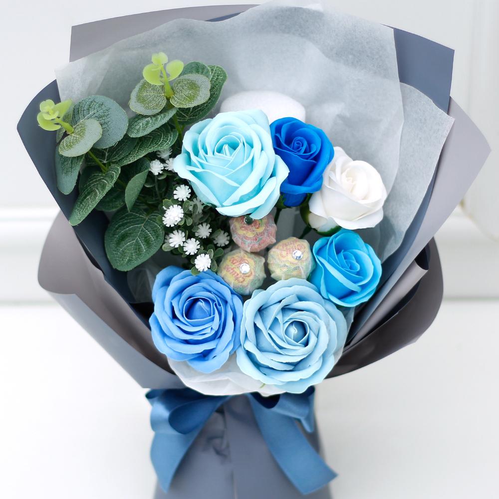 아침향기 조화 블라썸 꽃다발, 블루