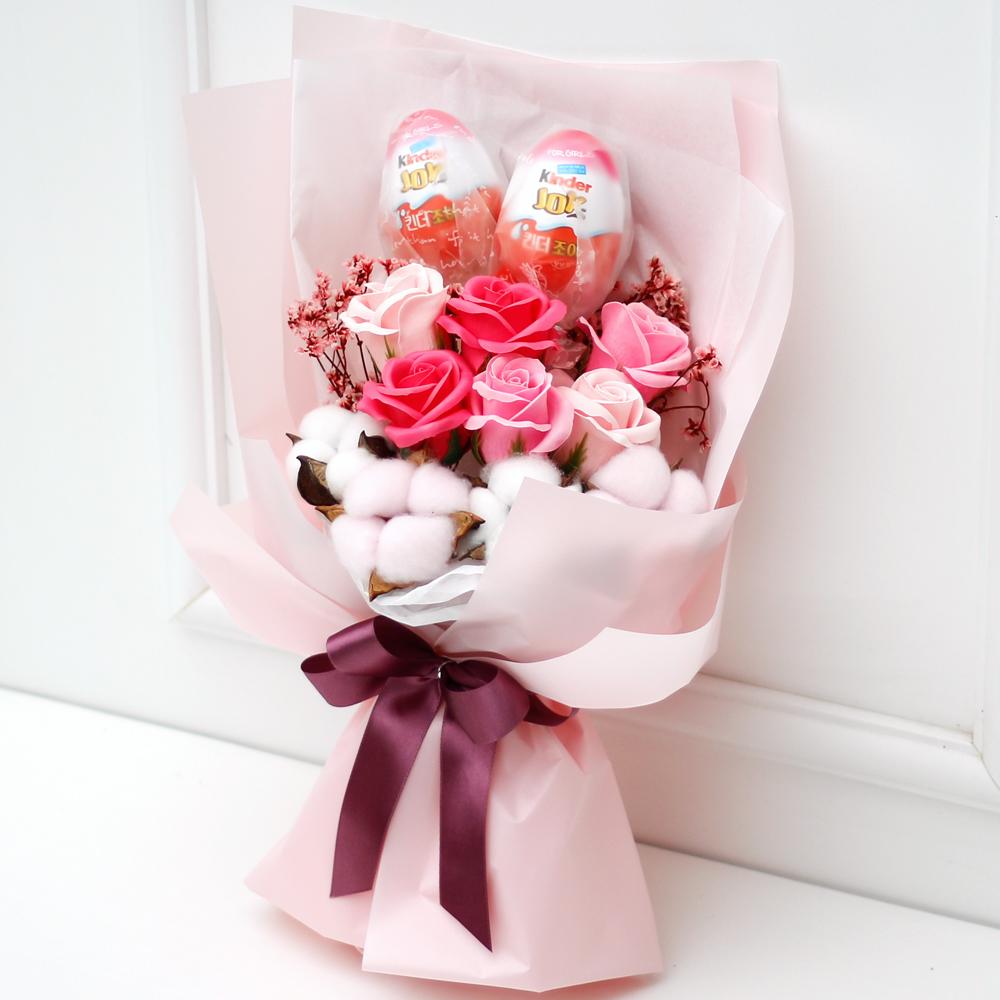 아침향기 조화 킨더 꽃다발 + 초콜릿 2p, 핑크