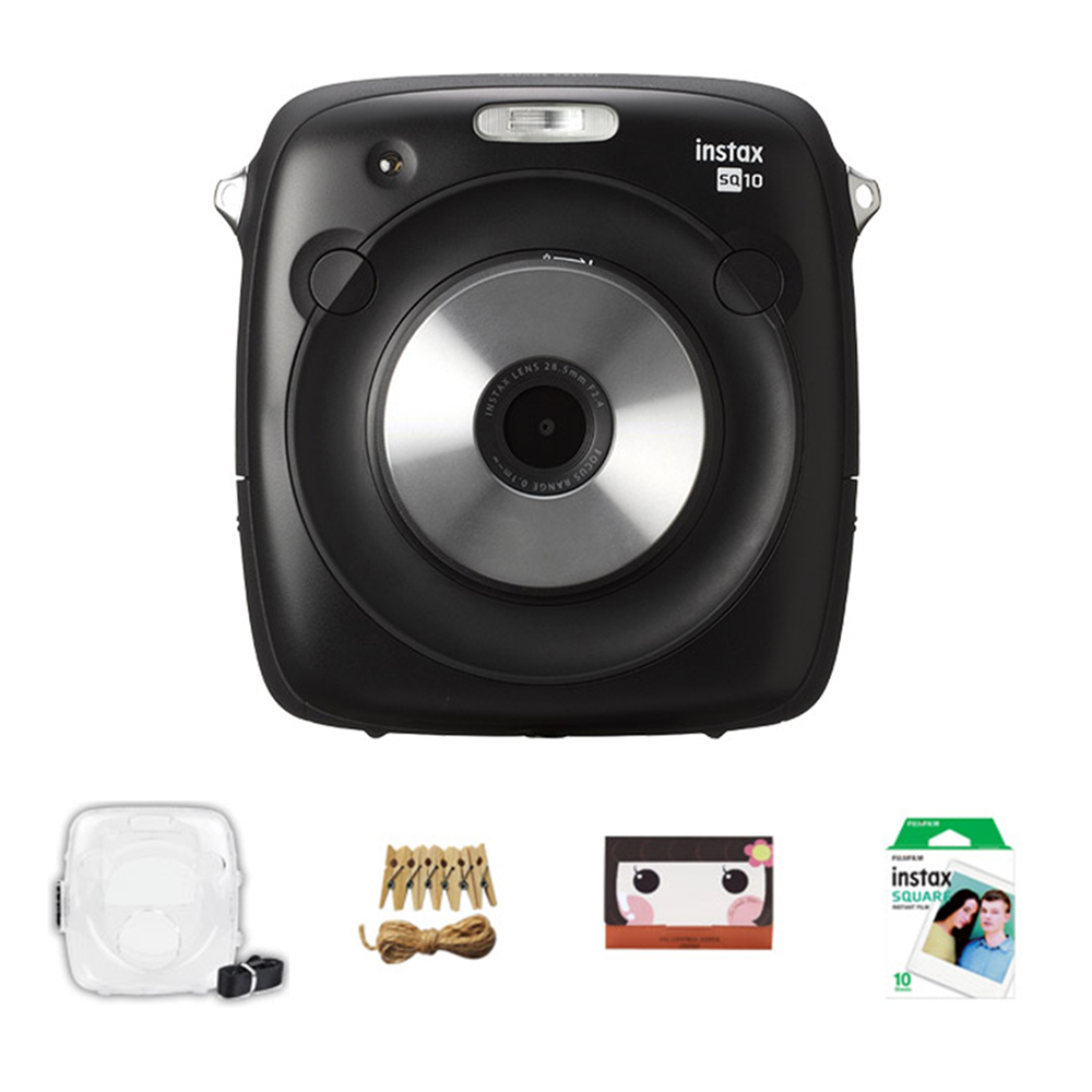 인스탁스 스퀘어 카메라 SQ10 + 블랙 투명케이스 + 포토라인 + 기름종이 25p + 스퀘어 필름 10p, 1세트