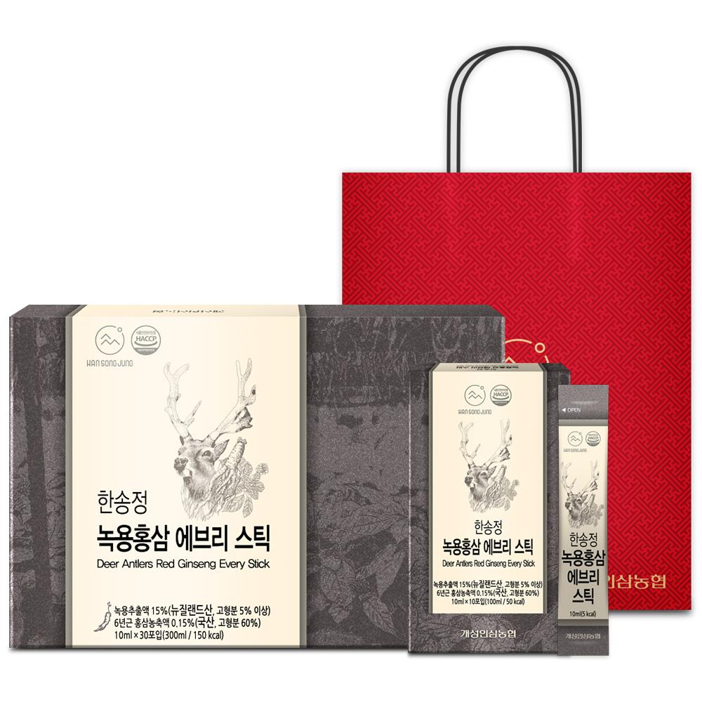 개성인삼농협 한송정 녹용홍삼 에브리 스틱 30포  쇼핑백 300ml 1박스