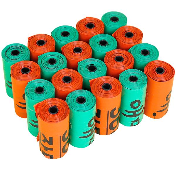 올펫 푸푸백 휴대용 배변봉투 리필 15매, 혼합 색상, 20개