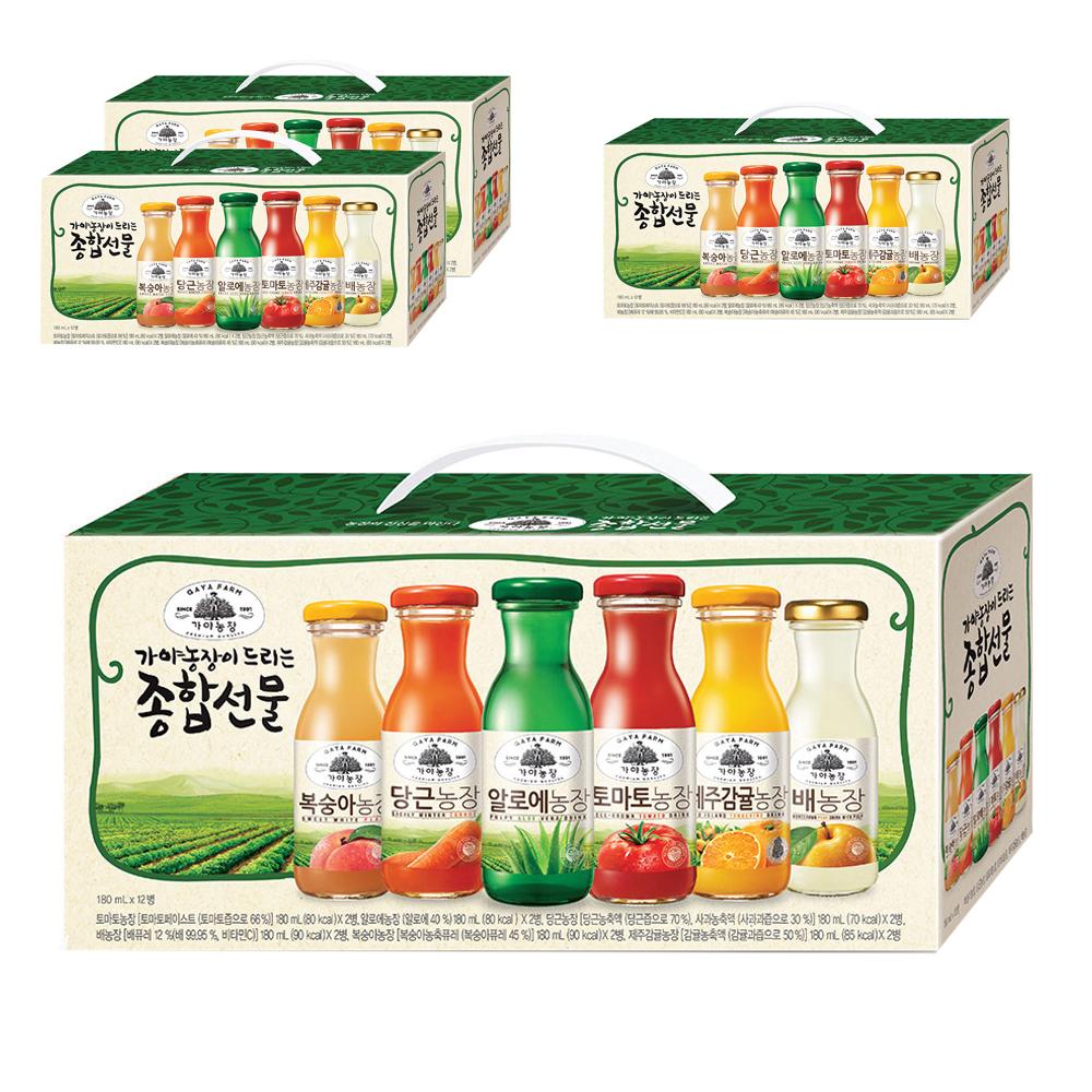 가야농장 주스 종합선물세트, 180ml, 4세트