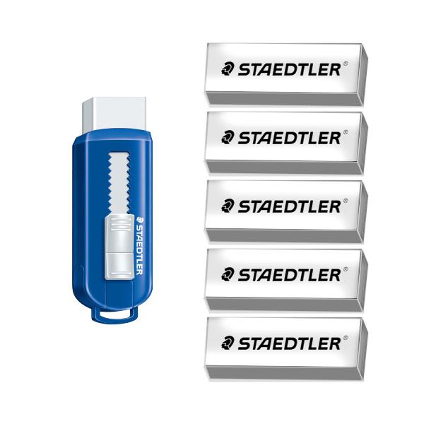 스테들러 슬라이딩 지우개 본체 + 리필 5p 세트, 화이트, 1세트