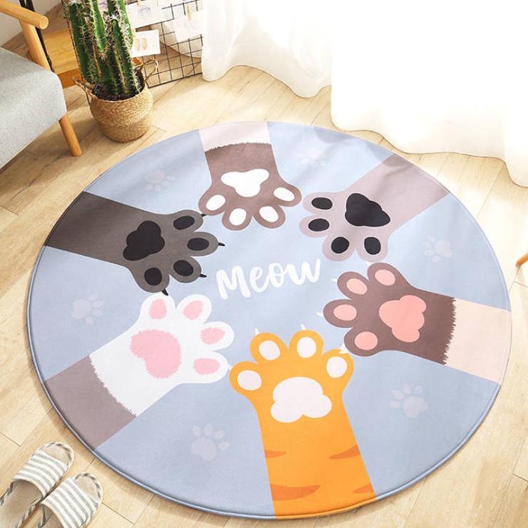 플리안 파스텔톤 동물파티 원형 러그, 고양이발바닥
