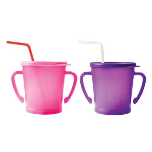 아가프라 매직빨대컵 300ml, 핑크, 퍼플, 2개입