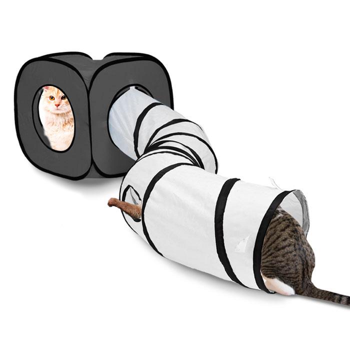 딩동펫 고양이 큐브 터널하우스, 그레이, 1개