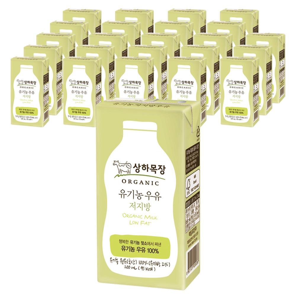 상하목장 유기농 저지방 멸균우유, 200ml, 24개입
