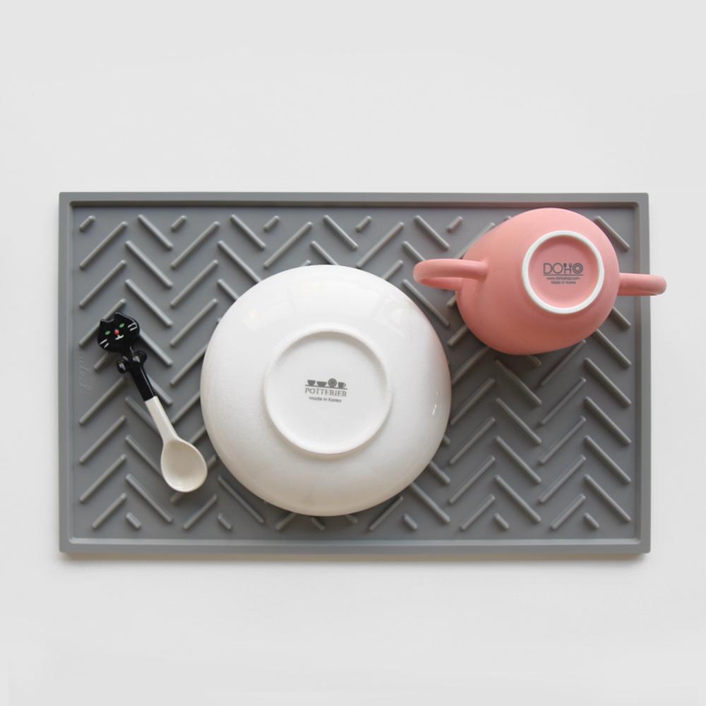 에이드엘 AL 헤링본 실리콘 식기건조 드라잉매트 Plus, 라이트그레이