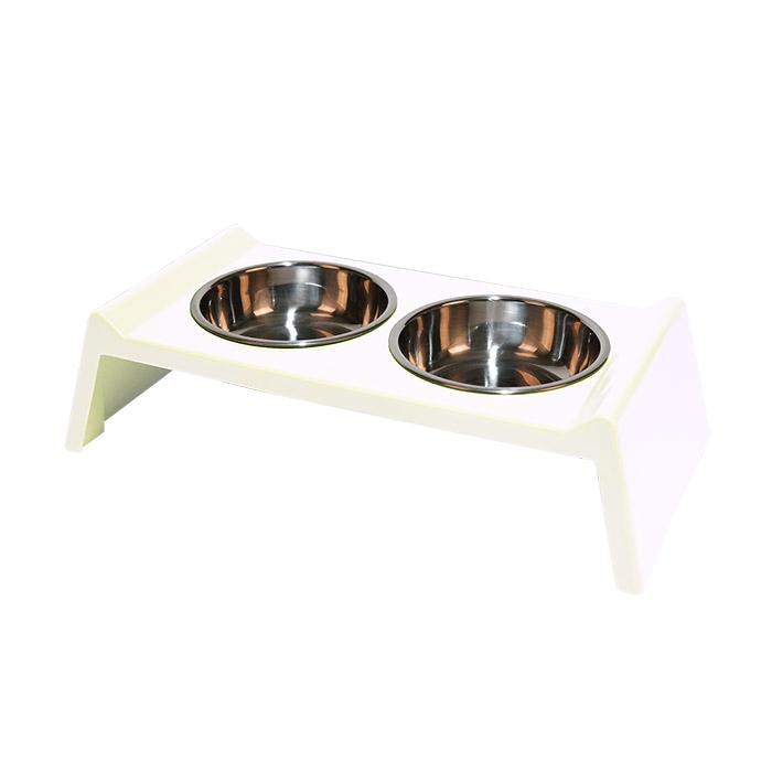 딩동펫 멜라민 강아지 식기 대형 2구, 화이트, 1개