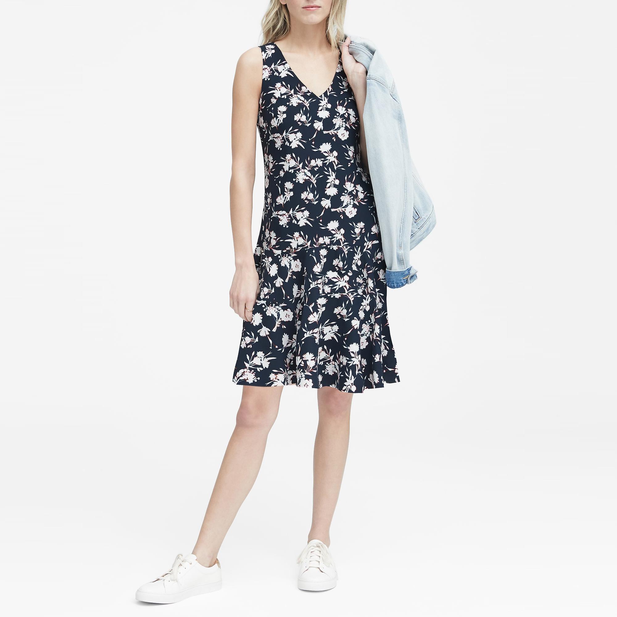 바나나리퍼블릭 여성 플로럴 드롭 웨이스트 시프트 드레스