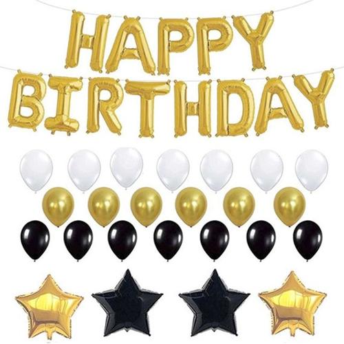 미니띠네 생일 파티 장식 스타 풍선세트, 화이트, 골드, 블랙, 1세트