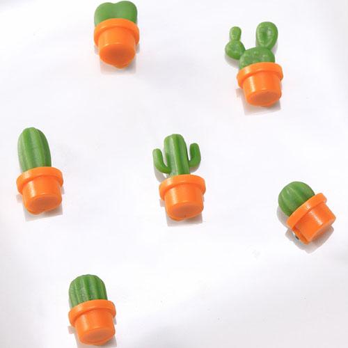 홈인테리어 선인장 냉장고자석 6종 세트, 주황색