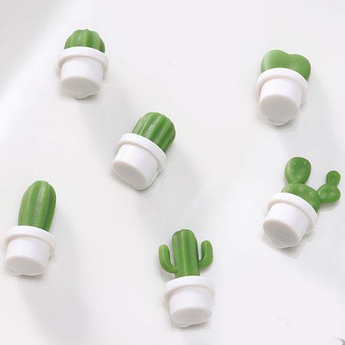 홈인테리어 선인장 냉장고자석 6종 세트, 흰색