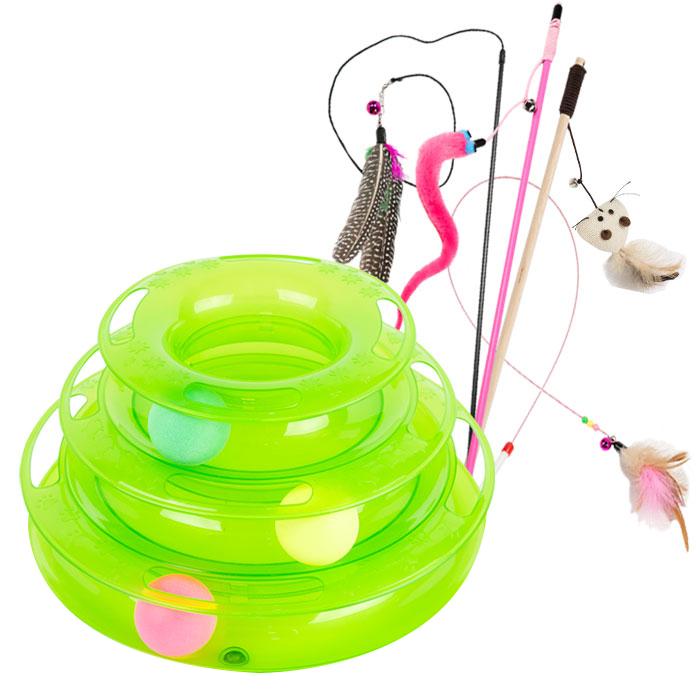 딩동펫 고양이장난감 캣타워트랙 그린 + 낚시대 장난감 4종 A세트, 혼합 색상, 1세트