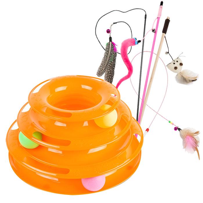 딩동펫 고양이장난감 캣타워트랙 오렌지 + 낚시대 장난감 4종 B세트, 혼합 색상, 1세트