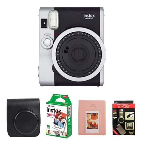 인스탁스 미니90 네오 클래식 카메라 블랙 + 전용가방 랜덤 발송 + 미니필름 10p + 하드앨범 랜덤 발송 + 폰 셀카렌즈, 단일 상품, 1세트