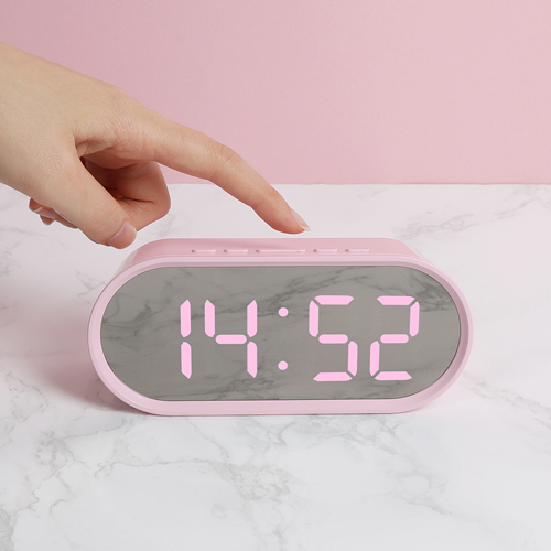 무아스 LED 팝 미러클락 미니 탁상시계, 핑크