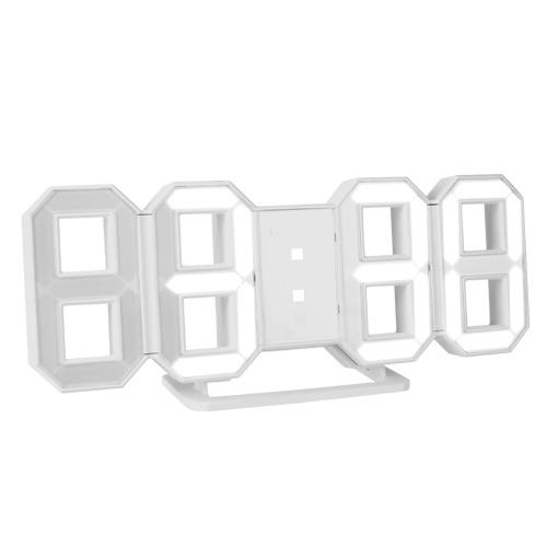 코시 3D LED 미러 디지털 벽시계 AC3339L, 화이트