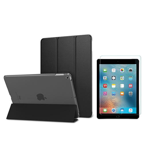 뷰씨 퓨어 스마트커버 태블릿 PC 케이스 + 강화유리필름, 블랙