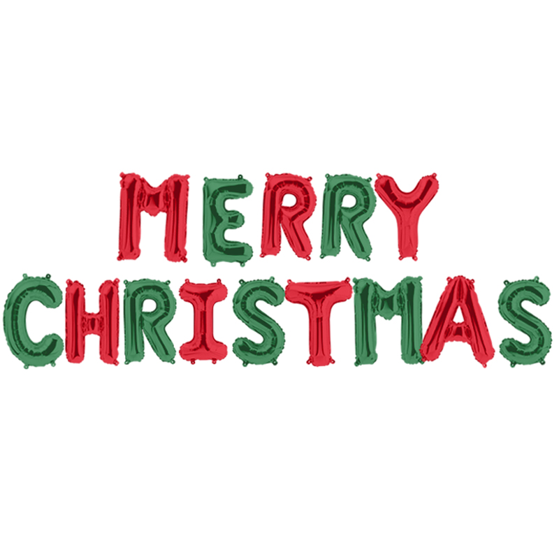 파티팡 은박풍선세트 MERRY CHRISTMAS, 레드앤그린, 2세트