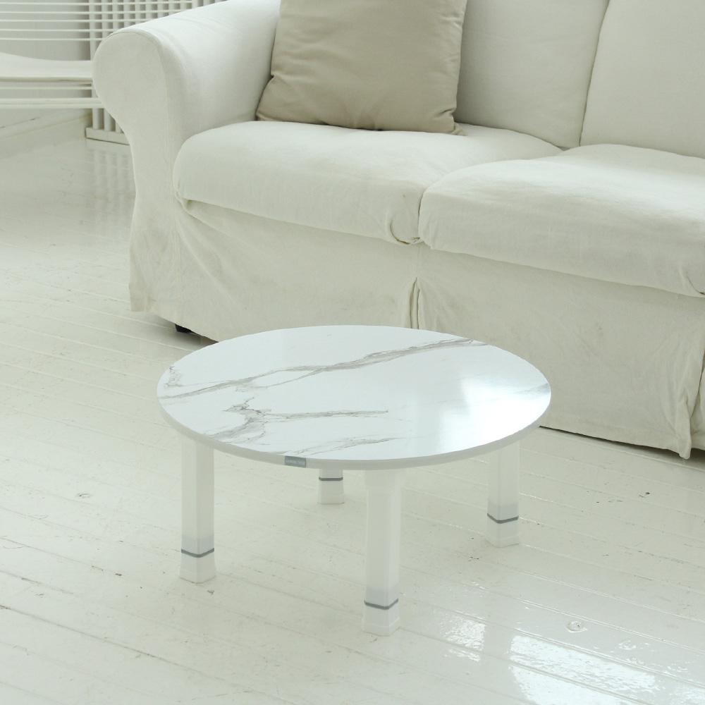 트리팜 LPM 높이조절 접이식 테이블 원형 600, 마블