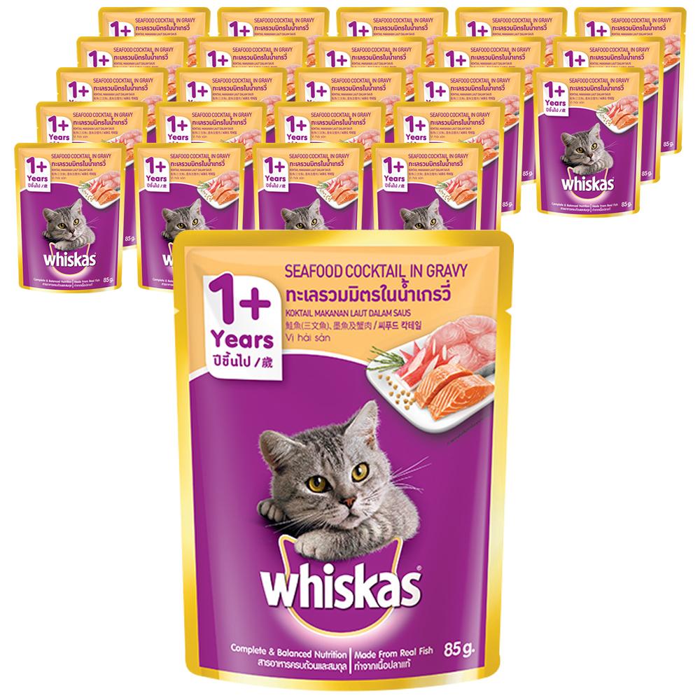 위스카스 고양이 주식 파우치 씨푸드 칵테일, 85g, 24개입