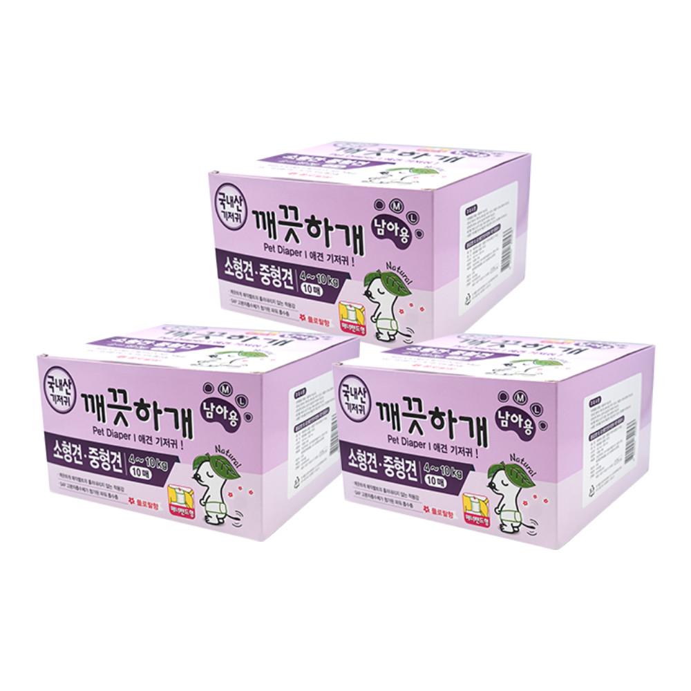 [노마진 기저귀] 깨끗하개 반려동물 기저귀 남아용 10매, M~L, 3개 - 랭킹6위 (17040원)