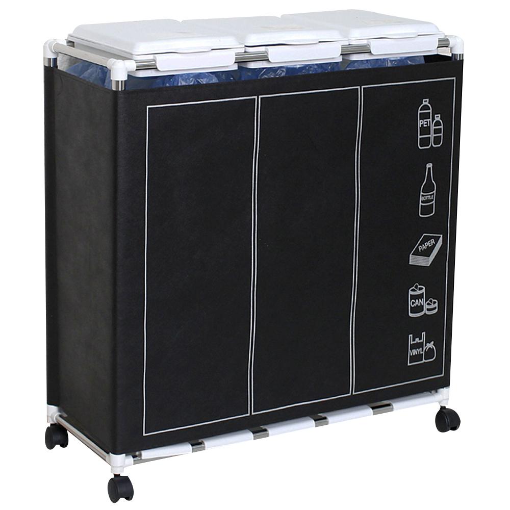 센스2030 커버형 분리수거함 3p 1단 + 스티커 랜덤 발송, 화이트 + 클린커버, 1세트