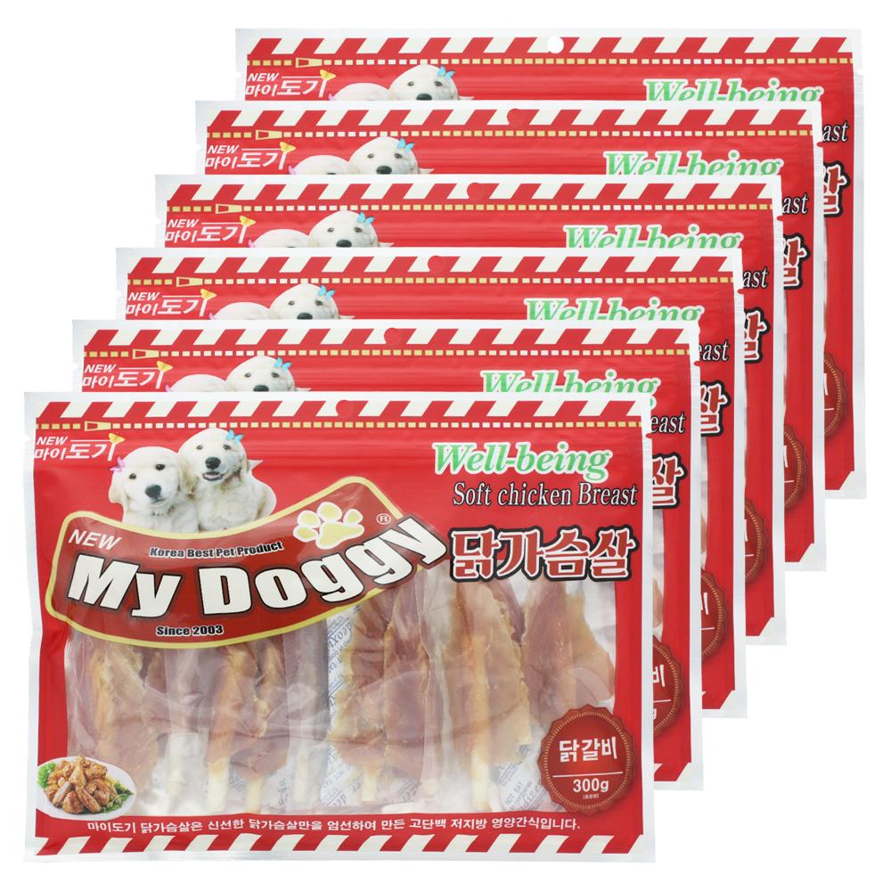 펫더맨 마이도기 강아지 간식 300g, 닭갈비, 6개