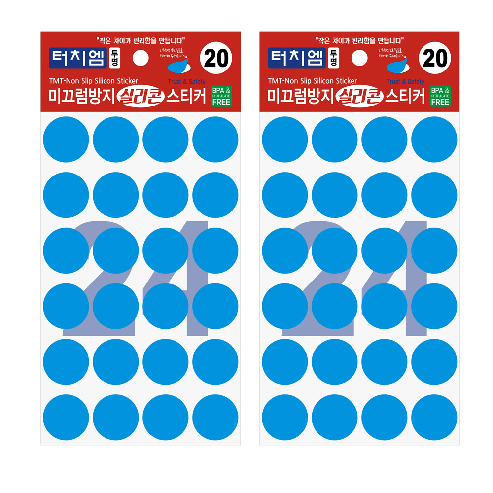 터치엠 미끄럼방지 실리콘 스티커 투명 24p, 2개입