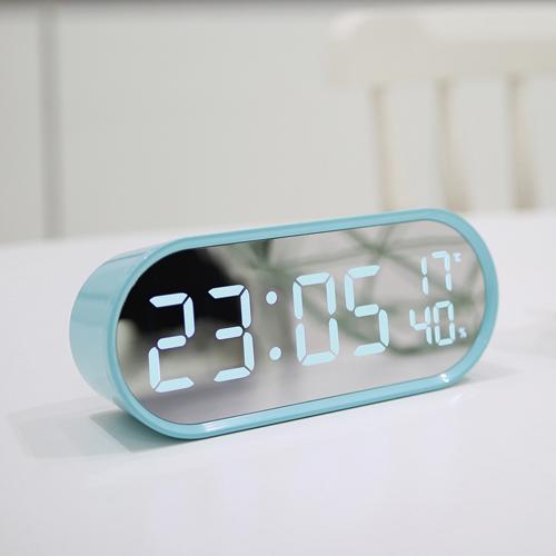 무아스 LED 팝 미러클락 빅 탁상시계, 민트블루