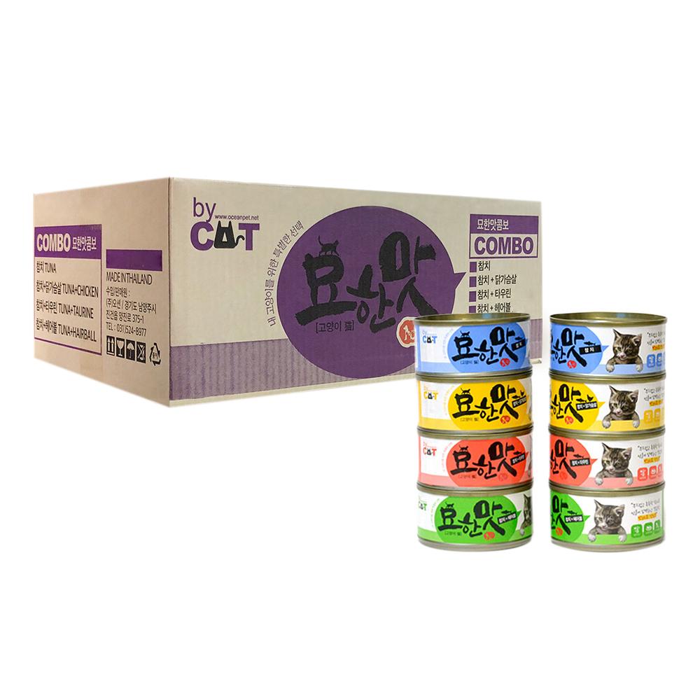 바이캣 묘한맛 고양이 간식캔 참치 4가지맛 콤보 80g x 24p, 참치 + 헤어볼 혼합맛, 참치 + 닭가슴살 혼합맛, 참치, 참치 + 타우린 혼합맛, 1세트