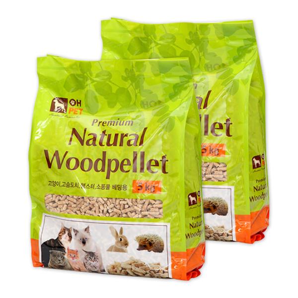 오펫 프리미엄 우드펠렛 고양이모래 소나무향, 5kg, 2개입