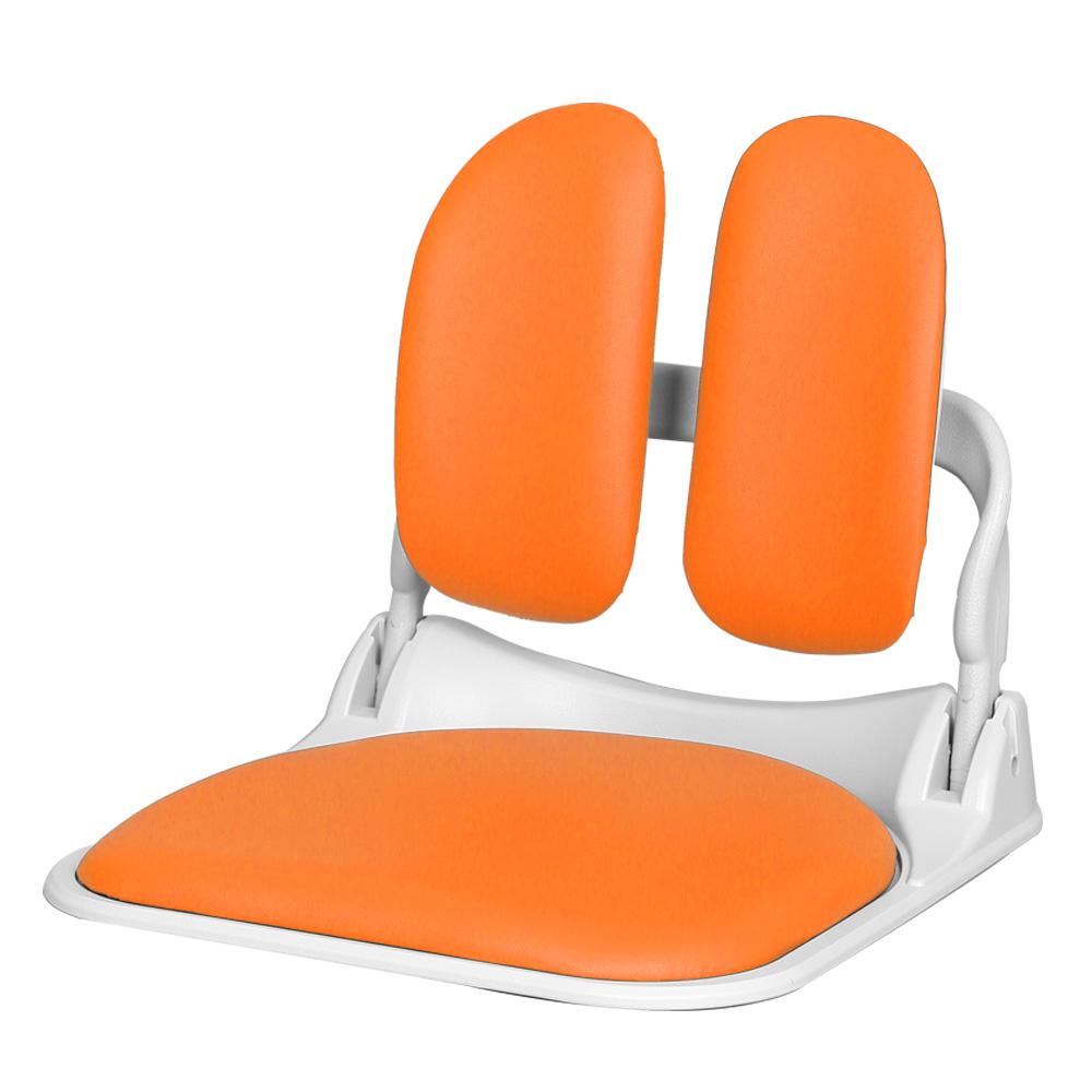 청심의자 접이식 좌식의자 듀얼폴더 DF-WH900 화이트바디 인조가죽, 오렌지