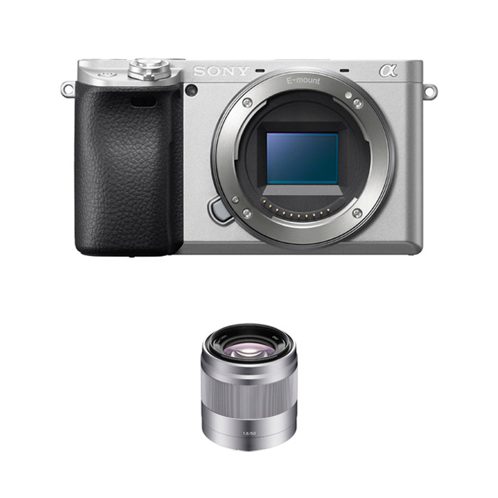소니 알파 A6400 미러리스카메라 바디 실버 + SEL50F18 패키지, ILCE-6400