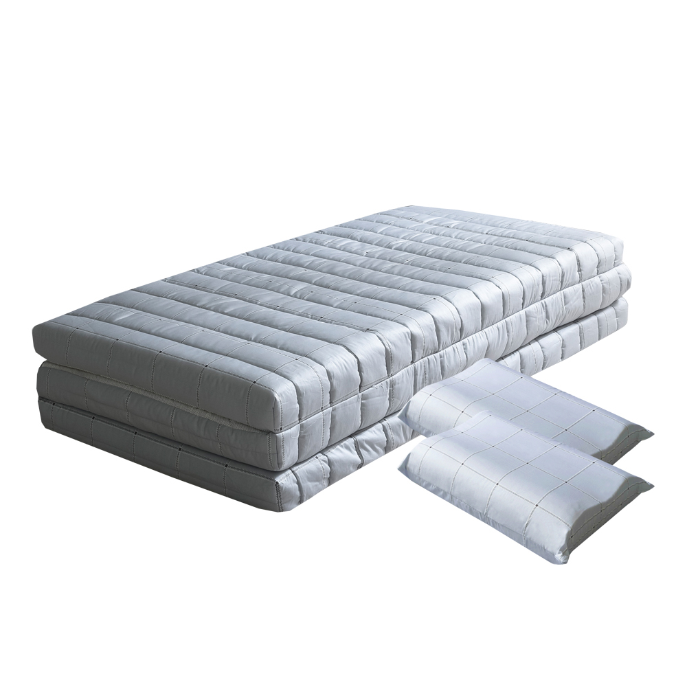 더코이즈 라텍스 3단 접이식 매트리스 5cm + 중형 베개 2p, 스카이블루체크