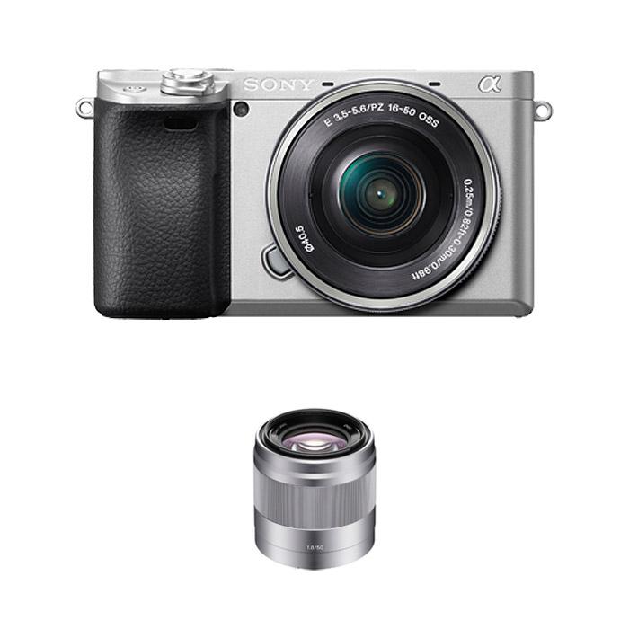 소니 알파 A6400L 미러리스카메라 실버 SELP1650 렌즈킷 + SEL50F18 패키지, ILCE-6400