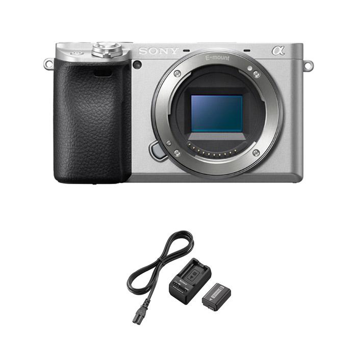 소니 알파 A6400 미러리스카메라 바디 실버 + ACC-TRW 배터리 충전기 킷, ILCE-6400