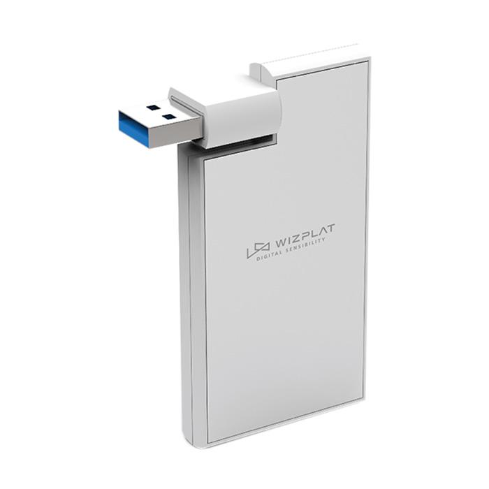 위즈플랫 회전형 4포트 USB3.1 허브 80 x 40 x 9 mm 30g WIZ-H50, 실버
