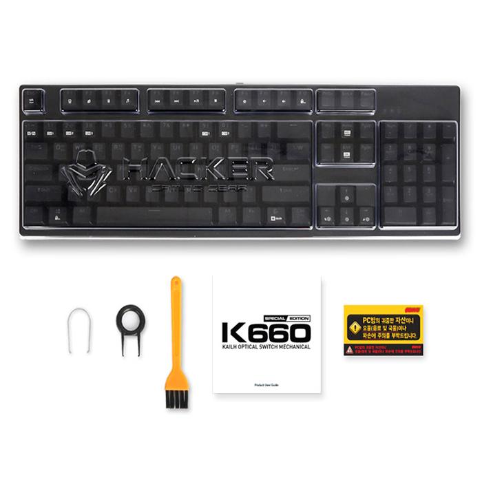 앱코 HACKER 단일 LED 에디션 카일광축 축교환 방수 게이밍 키보드 클릭, K660