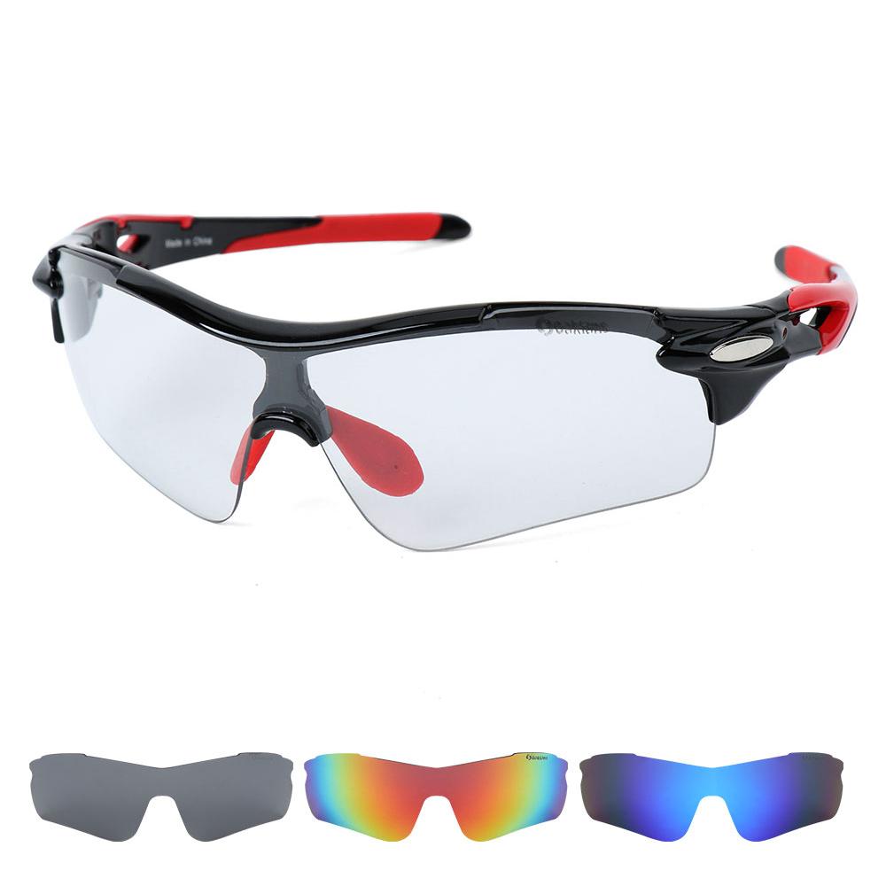 오클렌즈 변색 렌즈4종 편광선글라스 스포츠고글 S54, 블랙레드프레임, 변색 + 편광(스모크, 블루, 레드)