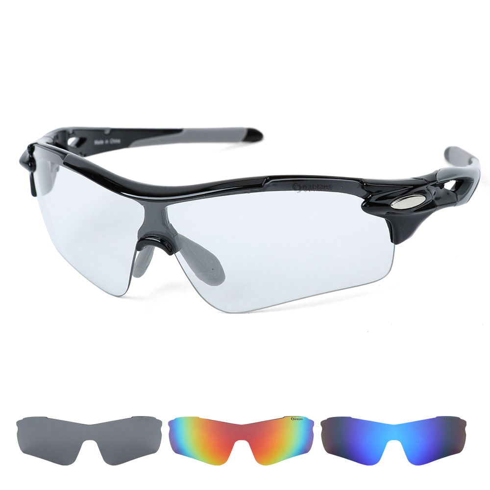 오클렌즈 변색 렌즈4종 편광선글라스 스포츠고글 S54, 블랙그레이프레임, 변색 + 편광(스모크, 블루, 레드)