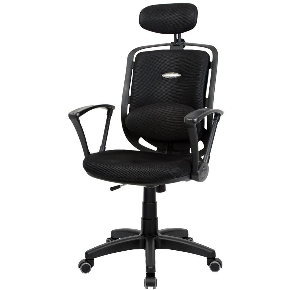 청심의자 스마트 고급형 대요추 의자 우레탄 바퀴 메쉬원단 SD600, 블랙