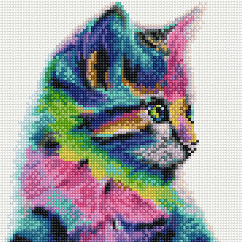 아트조이 DIY 보석십자수 캔버스형 25 x 25 cm, 레인보우 고양이, 1세트