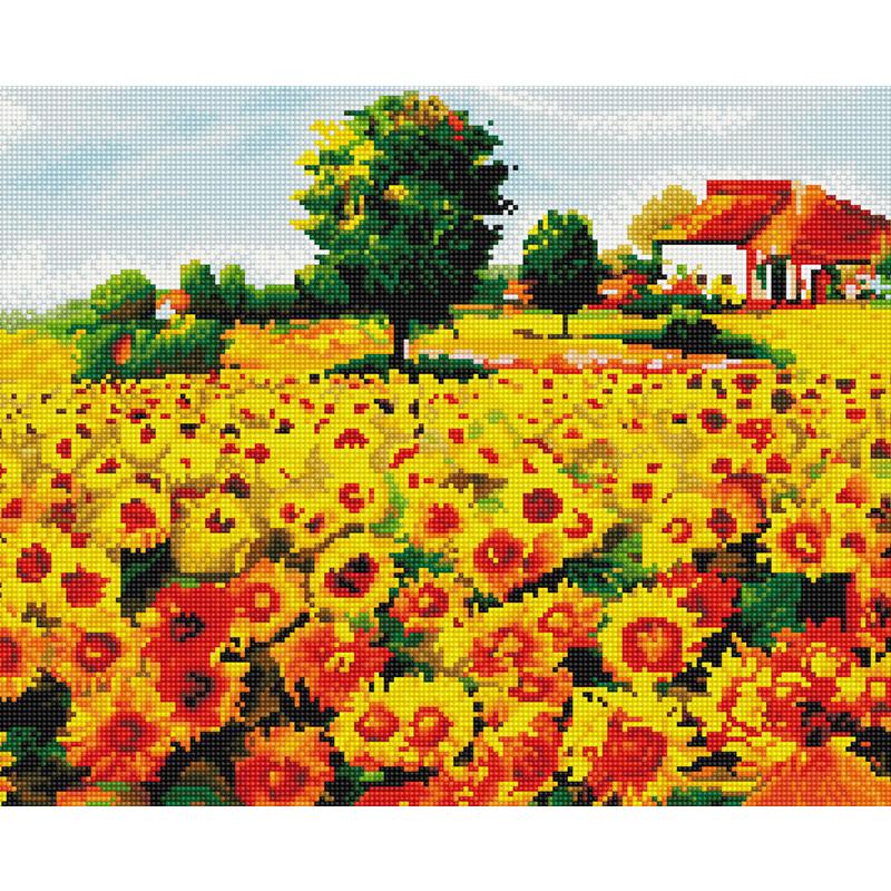 아트조이 DIY 보석 십자수 캔버스형 50 x 40 cm, 붉은 해바라기 밭, 1세트