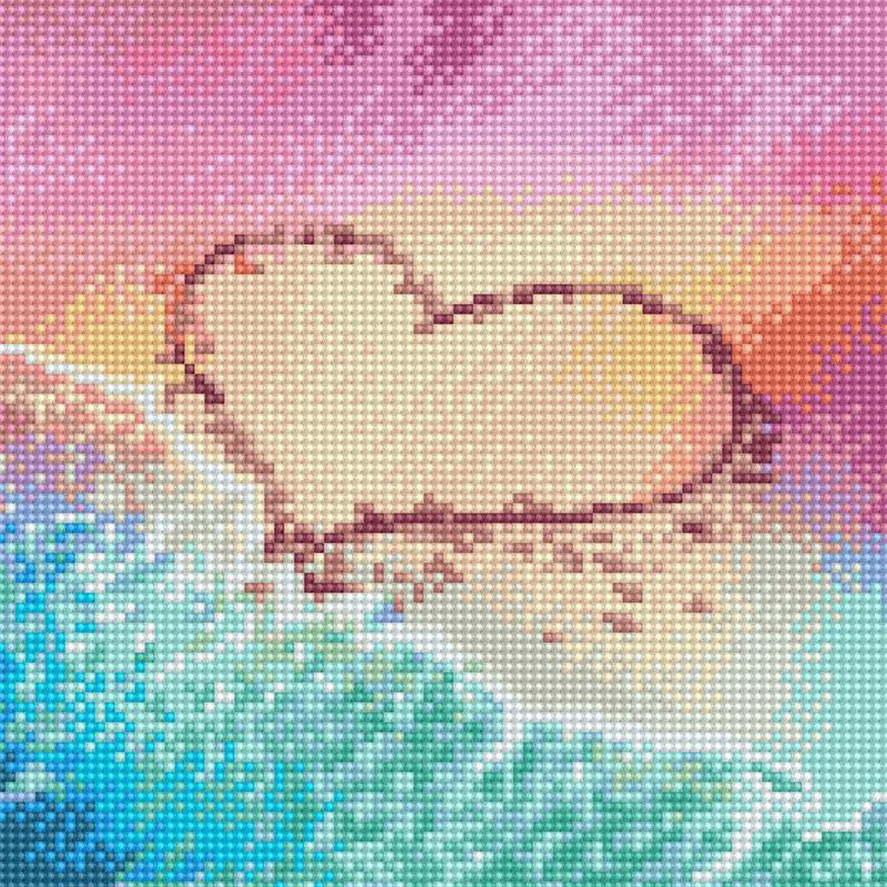 아트조이 DIY 보석십자수 캔버스형 25 x 25 cm, 모래 위에 새긴 하트, 1세트